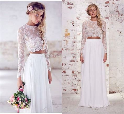 boho wedding dress shop boho two wedding dress 2015 sheer neck sleeves lace bohemian summer bridal