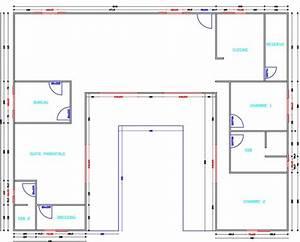 exemple plan de maison forme en l With plan maison en forme de u