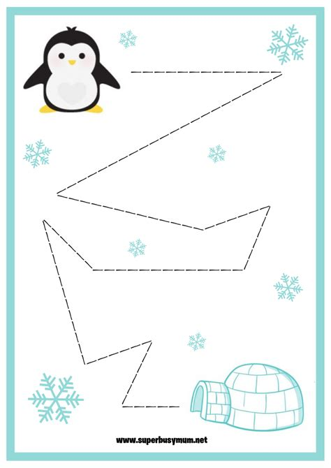 winter tracing worksheets super busy mum