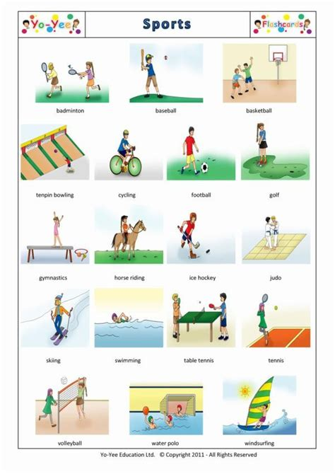 sports flashcards  chinese  kids sports vocabulary cards