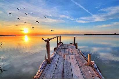 Pier Sunrise Desktop Horizon Wallpapers Sunset Water