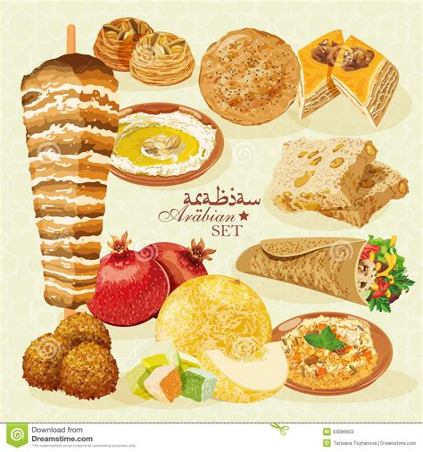 cuisine halal arabian halal food with pastries and fruit stock vector