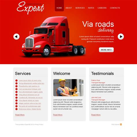 Transport Website Template by Trucking Website Template 29079
