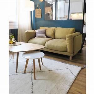 tapis type berbere tisse main en laine beige et gris pavot With tapis berbere avec bout de canapé transparent