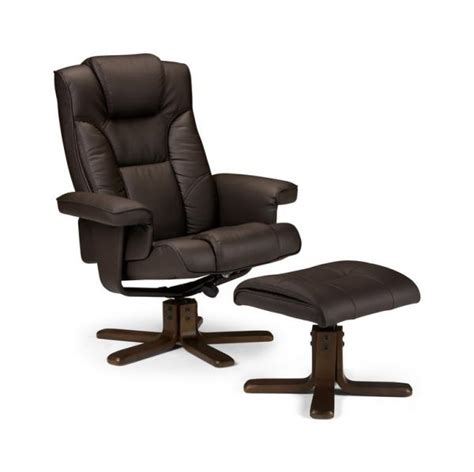 malmo ergonomic office recliner chair footstool brown