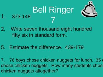 math bell ringers  exit  common core bell