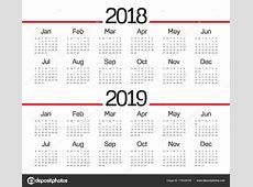 Vector de calendario año 2018 2019 — Vector de stock