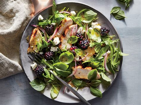 basil blackberry and grilled chicken salad recipe