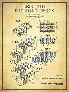 Lego Toy Building Brick Patent - Vintage Digital Art by
