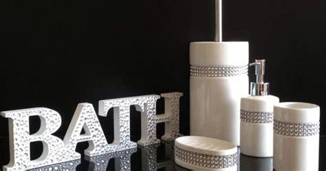 pc diamante bling white ceramic bathroom accessory