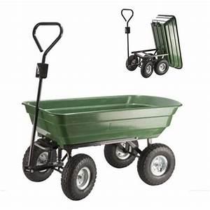 Brouette 2 Roues Brico Depot : chariot remorque de jardin 52l vert basculant achat ~ Nature-et-papiers.com Idées de Décoration
