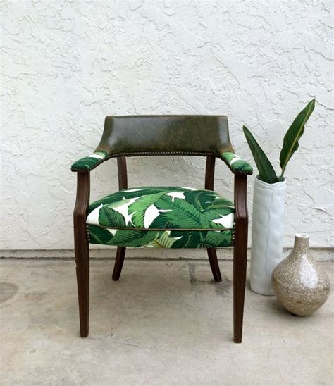 50 s palm leaf upholstered chair office chair accent