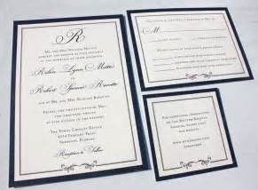 printed wedding programs formal navy blue belly band wedding invitations with