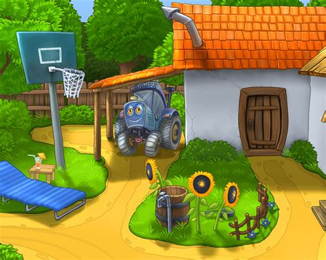 small farm house cartoon character hd desktop wallpaper