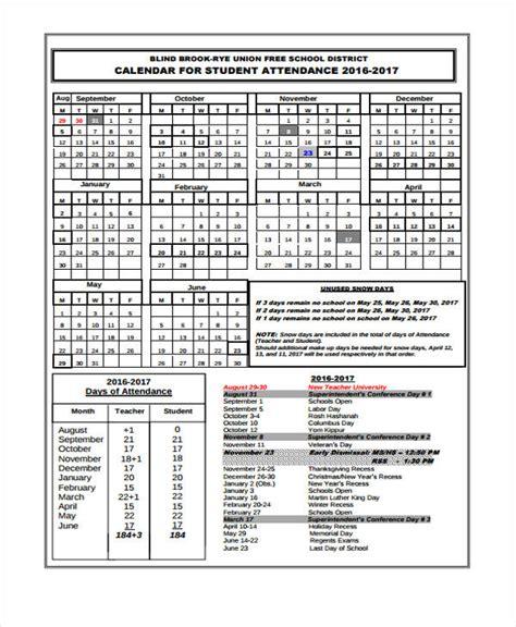 attendance calendar templates  word  format