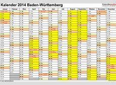 Kalender 2014 BadenWürttemberg Ferien, Feiertage, PDF