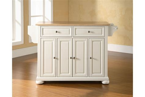 Alexandria Natural Wood Top Kitchen Island in White by Crosley
