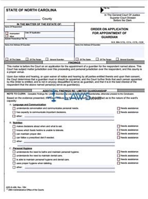 north carolina legal name change form form aoc e 406 order on application for appointment of