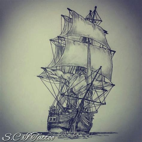 Boat Drawing Tattoo by Ship Tattoo Sketch By Ranz Pinterest Perspective