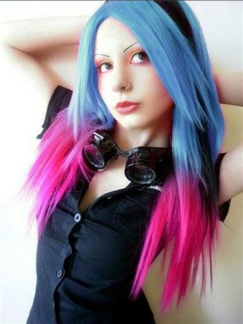 Light Navy Blue Colored Hair With Hot Pink Tips And A