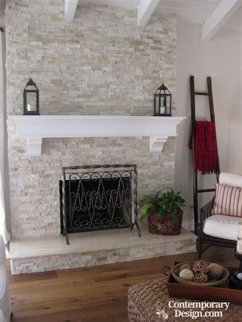 white  grey brick fireplaces contemporary design