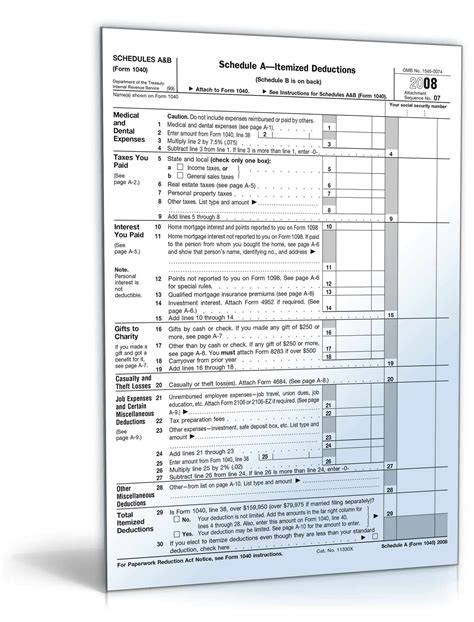 2008 schedules a b form 1040 form to