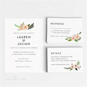 printable wedding invitation set romantic floral wedding With wedding invitations to download and print