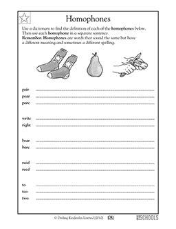 2nd grade 3rd grade reading writing worksheets homophones homeschool writing worksheets