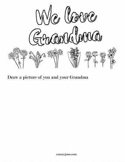 Mothers Printable Grandma Coloring Pages Cards Card
