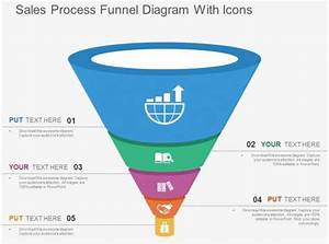 Sales Process Funnel Diagram With Icons Flat Powerpoint