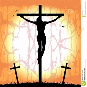 Silhouette Of Christ On The Cross Stock Vector - Image ...