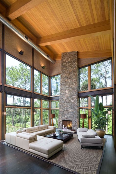 Living Room With Fireplace And Windows by Interior Styles And Design Rustic Warmth Fireplaces