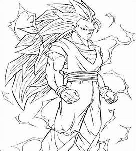 Goku Super como Sayayin fase 3 para colorear ~ 4 Dibujo