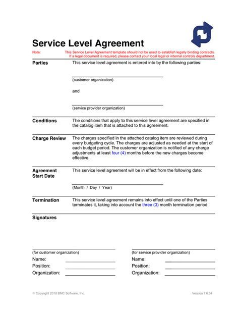 service level agreement template  word   formats
