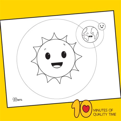 sun earth  moon coloring page  minutes  quality time