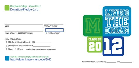 pledge card the quot graduate quot at mercyhurst leaving a legacy mercyhurst college annual senior