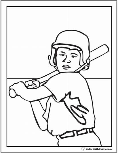 Baseball Coloring Pages Player Dodgers Printable Pdf