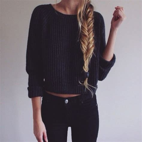 Pullover cropped dark tumblr outfit blonde hair weheartit sweater weather girly sweater ...
