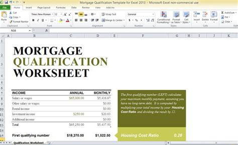 mortgage qualification template  excel