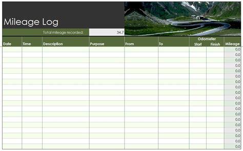 mileage log template excel mileage log template free mileage log template