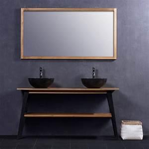 Meuble Salle De Bain Marbre : ensemble de salle de bain en bois de teck meuble de salle de bain teck 150 2 vasques marbre ~ Teatrodelosmanantiales.com Idées de Décoration