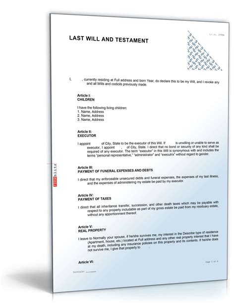 Last Will And Testament Template California by California Last Will And Testament Sle Direct