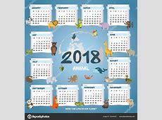 vierkante kalender 2018 verschillende dieren vector