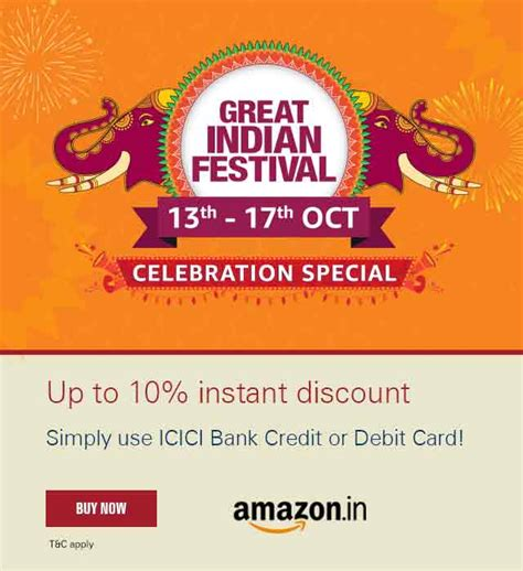 Apply for the icici credit card via cashkaro and get amazon gift voucher wortj rs.1,050. Amazon Great Indian Sale offer - ICICI Bank offer