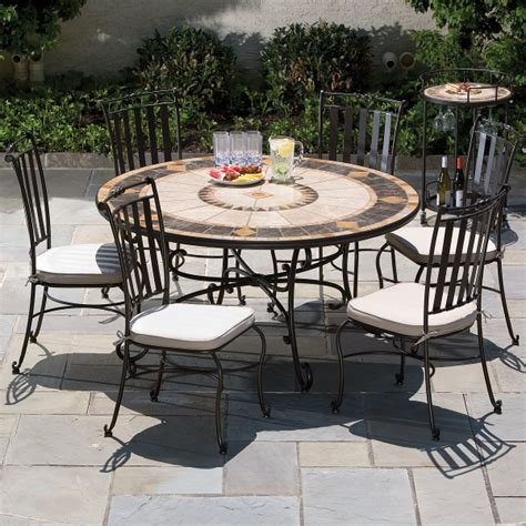 7 compass mosaic outdoor furniture dining set from