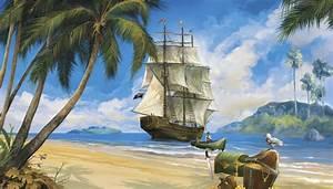 PIRATE SHIP PREPASTED WALLPAPER MURAL Pirates Room Decor ...