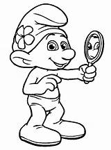 Coloring Smurf Vanity Mirror Smurfs Colouring Printable Books Crafts Truck Drawings sketch template