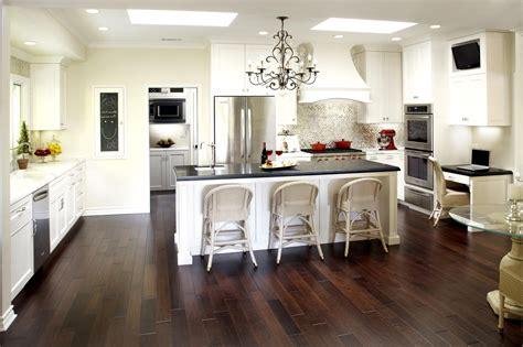 delightful black and white kitchen ideas also dark brown laminate floor and gorgeous chandelier