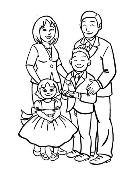 How to Draw a Beautiful Family Coloring Page Hình ảnh