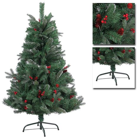 decorated frosted christmas tree 4ft decorated artificial christmas tree frosted tips pine cones barries ebay
